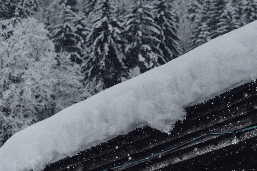 Snowy Roof In Winter